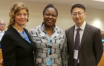 COFS Director Dr. Debra Budiani-Saberi, UN Special Rapporteur Ms. Joy Ngozi Ezeilo and Human Rights Attorney and Author of OSCE Report on Trafficking in Human Beings for the Purpose of Organ Removal Mr. Milbert Shin at the Presentation of the Special Rapporteur's Report to the UN General Assembly